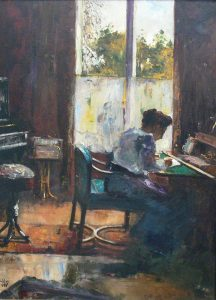 """Lesser Ury Frau am Schreibtisch 1898"" by Lesser Ury - none. Licensed under Public Domain via Wikimedia Commons - http://commons.wikimedia.org/wiki/File:Lesser_Ury_Frau_am_Schreibtisch_1898.jpg#mediaviewer/File:Lesser_Ury_Frau_am_Schreibtisch_1898.jpg"