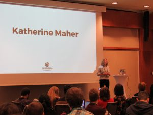 Photo: Katherine Maher giving her speech in Wikimedia Diversity Conference, 2017